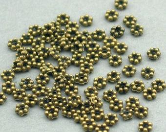 Daisy Spacer Beads Antique Bronze tone 200pcs base metal beads 3mm SB001B