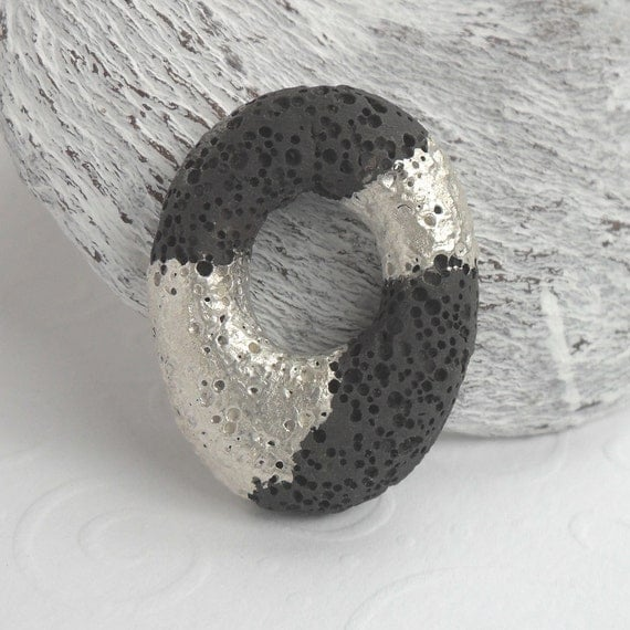 Lava Rock Bead Fine Silver Painting Semi Precious Stone Pendant Gemstone Jewelry Supply Oval Shape With Cut Out And Drilled Holes OOAK