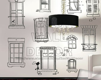 PEEL and STICK Removable Vinyl Wall Sticker Mural Decal Art - Hand Sketch Window Frames Decal