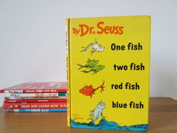One Fish Two Fish Red Fish Blue Fish Dr Seuss vintage childrens book 1960 hardback reasonable condition, classic kids storybook