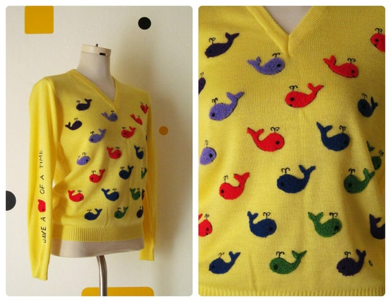 60s 70s Sweater / Novelty Embroidered Sweater / Cyn Les / Yellow Whales Sweater S