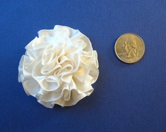 Ivory Satin Fabric Flower Pin, Hair Clip, Fascinator, or Headband