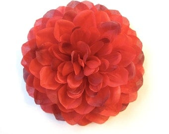 Hair Accessory, Pin, Hair Clip, or Fascinator - Crimson Red Dahlia - Large Scarlet Flower