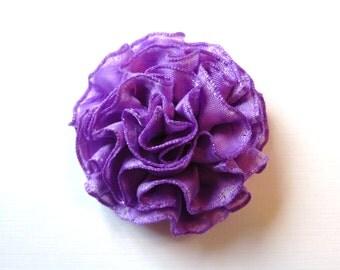 Purple Satin Flower Hair Clip or Purple Flower Pin