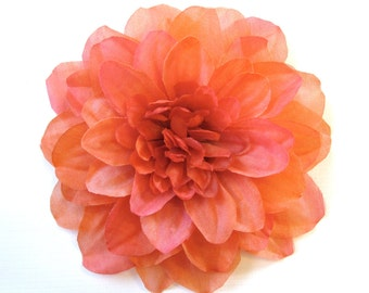 Larger Silk Flower Hair Clip or Pin Accessory - Vibrant Peach Orange with Many Petals