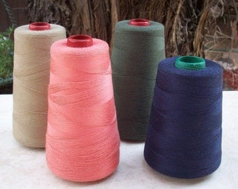 4 Large Cones Sewing Thread   ~   Sewing Thread in Shrimp, Butterscotch, Olive Drab and Yale Blue  Made in the USA