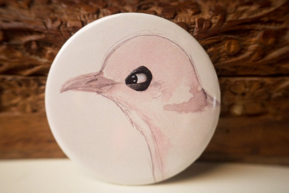 Pigeon collage mirror // Pocket mirror // Birdy