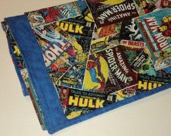 Superhero Baby Blanket, Marvel Comics, Baby Boy Flannel And Cotton Blanket, Geek Baby, Superhero Nursery, Baby Shower Gift, Made To Order