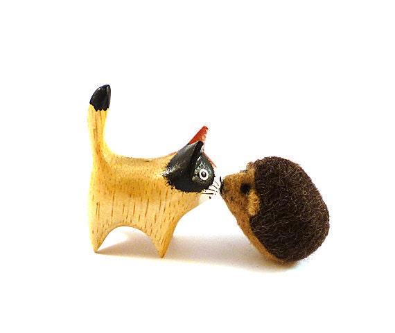 Woodland Hedgehog Wool Catnip Cat Toy