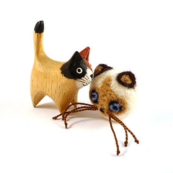 Tan Siamese Cat Wool Catnip Cat Toy
