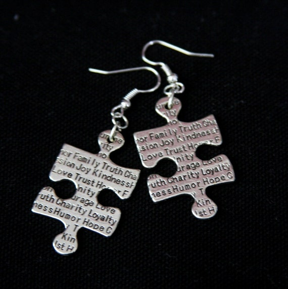 Black Puzzle Earrings, Silver and Black Puzzle Earrings, Family and Faith Earrings, Script Jewelry, Fad Earrings