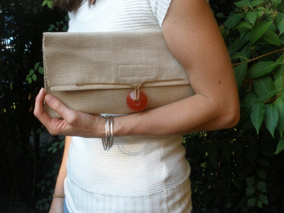 Handmade Clutch Herringbone Pattern with Indian made Glass Sunset Orange Bead and leather trim