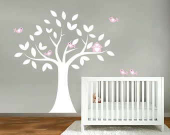 Nursery wall decal- Wall decals- Vinyl tree decal- Birdhouse decal with birds