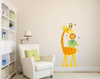 children's decals- removable vinyl wall decal-  Elephant, Giraffe, Monkey, Lion, Birds, nursery wall decals- jungle decals