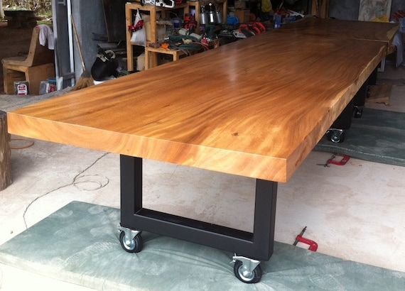 Live Edge Dining Table Reclaimed Solid Slab Acacia Wood Extremely Large Rare Size