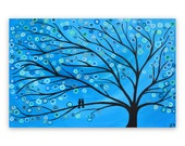 RESERVED FOR PAUL Teal & Turquoise Whimsical Two Birds in a Tree Painting