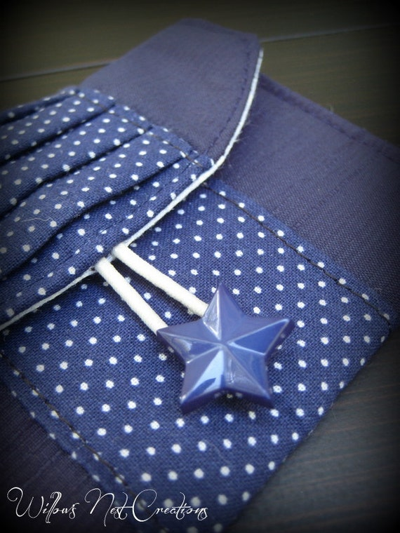 Blue Starry Mini Wallet/Card Holder with Polka dots