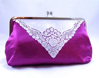 Fuchsia clutch: Oversized clutch, hot pink clutches, cute clutches, unique clutches, made with vintage hankie