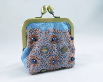 Change purse, coin purse, blue, vintage doily, glass beads, raw silk