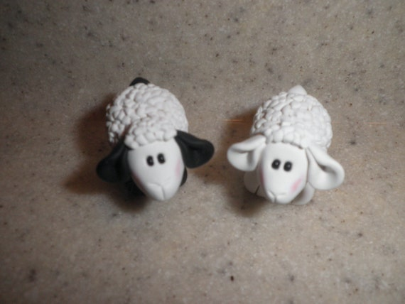 Polymer Clay Sheep- Black and/or White Sheep Figurine/Gift