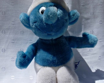 Vintage Smurf Plush Toy Blue White Wallace Berrie Peyco 1981