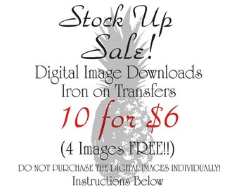 Digital Download for Iron on Transfer Digital SALE 10  6 Dollars Clip art Printable DIY Digital Collage Sheet Tea Towel Fabric Pillow