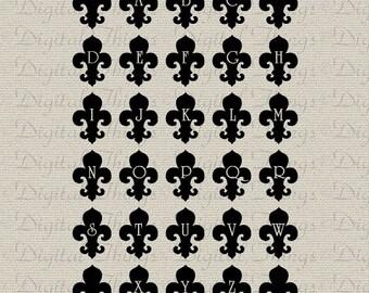 Fleur de Lis Alphabet Art Letter Art Typography Wall Decor Art Printable Digital Download for Iron on Transfer Fabric Pillow Tea Towel DT924