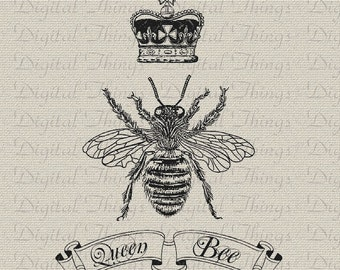 Queen Bee Crown Script Digital Download for Iron on Transfer Fabric Pillows Tea Towels DT908