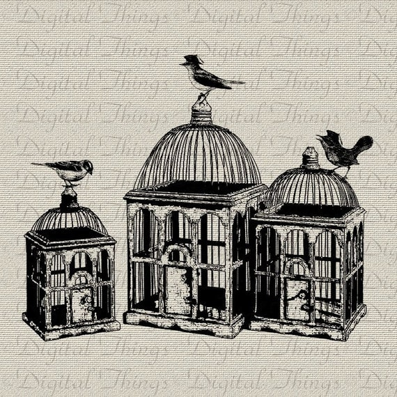 Birdcage Bird Cage French Birds with Beret Hat Wall Decor Art Printable Digital Download for Iron on Transfer Tea Towel Fabric Pillows DT246
