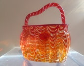Vintage Hand Made red glass purse vase