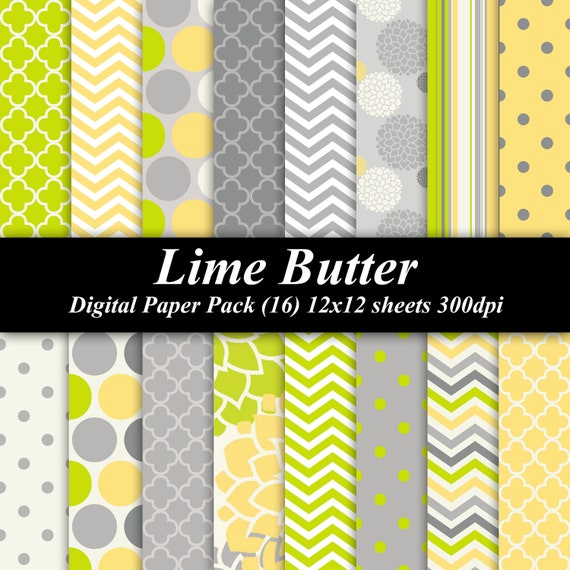Lime Butter Digital Paper Pack (16) 12x12 sheets 300 dpi scrapbooking floral lime green yellow gray grey