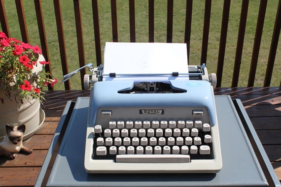 Royal Typewriter, Robin Egg Blue Typewriter in Case with Key