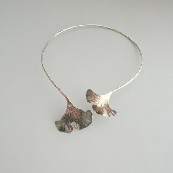RESERVED / Vintage Sterling Necklace. Gingko Leaves Hand Made Omega Choker.