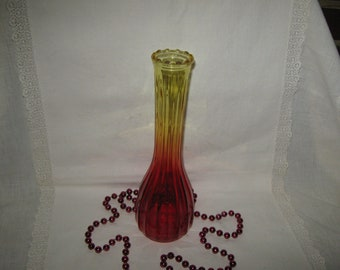 Amberina Type Glass Flower Vase