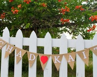 Wedding Banner - Personalized Banner - Engagement Banner - Engagement Party - Engagement Photo Props - Rustic Wedding Decor - Burlap Wedding