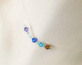 Mothers Necklace Birthstone Grandmothers Crystal Illusion