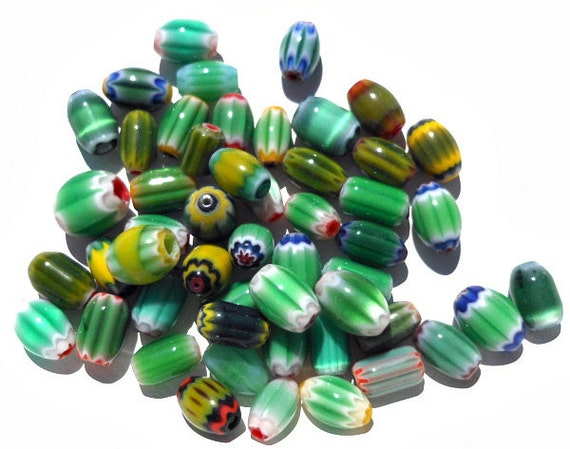 50 Piece Variety Pack Green, Glass Chevron Oval Beads