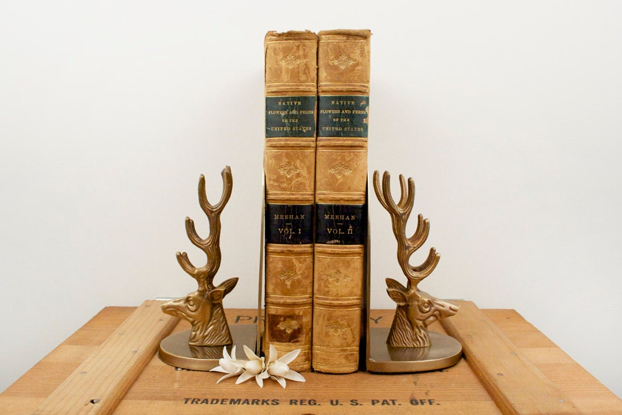 Vintage brass deer stag head bookends - Stag book ends ...