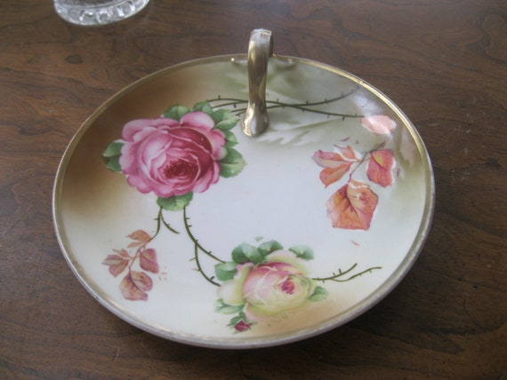 Roses, Three Crown China, Germany, Tea and Candy Tray with Handle, circa 1930