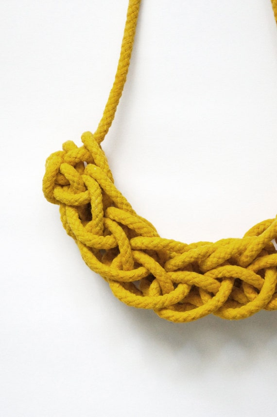 Knitted Rope Necklace in Yellow