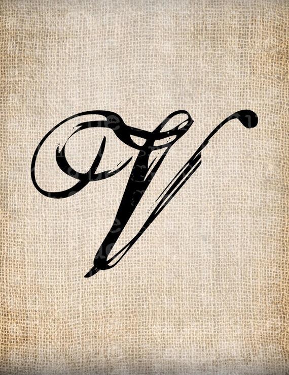 antique letter v script monogram digital by antiquegraphique. Black Bedroom Furniture Sets. Home Design Ideas