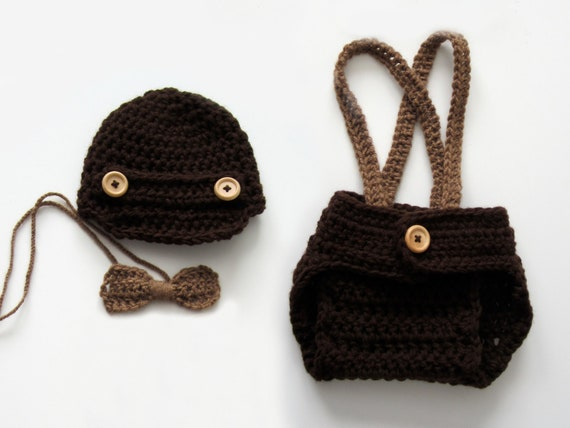 Crochet Baby Boy Newsboy Set with Suspenders and Bowtie, Photography Prop Set, Size Newborn and Infant – Coffee & Cafe
