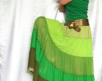 Custom order Skirt Green Long Maxi Tiered Ruffle Chiffon Urban Boho Hippie Gipsy Skirt   Size plus