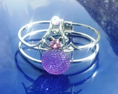 Reserved for (Gladys Tang) Half Price Sale Beautiful Silver, Purple & Lilac Spider Crystal Spooky Bangle Bracelet