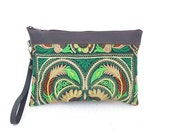 Hill Tribe Wristlet Clutch HMONG Fabric Leather Trim Leather Removable Wristlet Strap Fair Trade Thailand (BG282AW-GB)