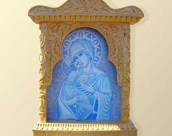 Virgin Mary and Jesus, Wall Art, Wood Carving, Orthodox, Christian, Religious Icon, Byzantine, Home iconostasis, White and Blue, MariyaArts
