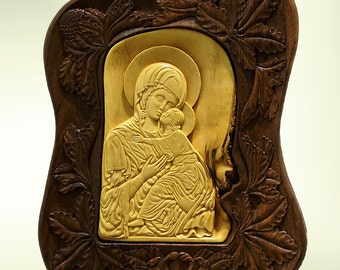 Wall art wood carving, Virgin Mary and Jesus, Orthodox Christian Religious Icon, Byzantine, wood wall art home decor, handmade, MariyaArts