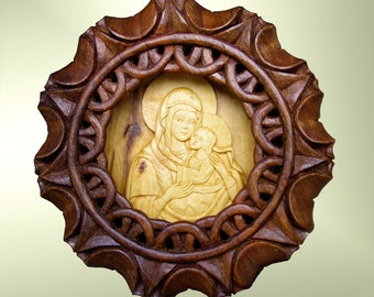 Virgin Mary and baby Jesus, Art Wood Carving, Orthodox, Christian, Religious icon, Byzantine, palmette, wood wall art, boxwood, MariyaArts