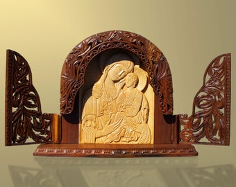 Home iconostasis, Virgin Mary with child Jesus, art wood carving, religious icon, wood sculpture, wood carving on etsy, MariyaArts
