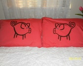 FREE SHIPPING Thru 11/27/17 -- Cute Little Blue Eyed Pigs Hand Painted, Couples Pillow Cases